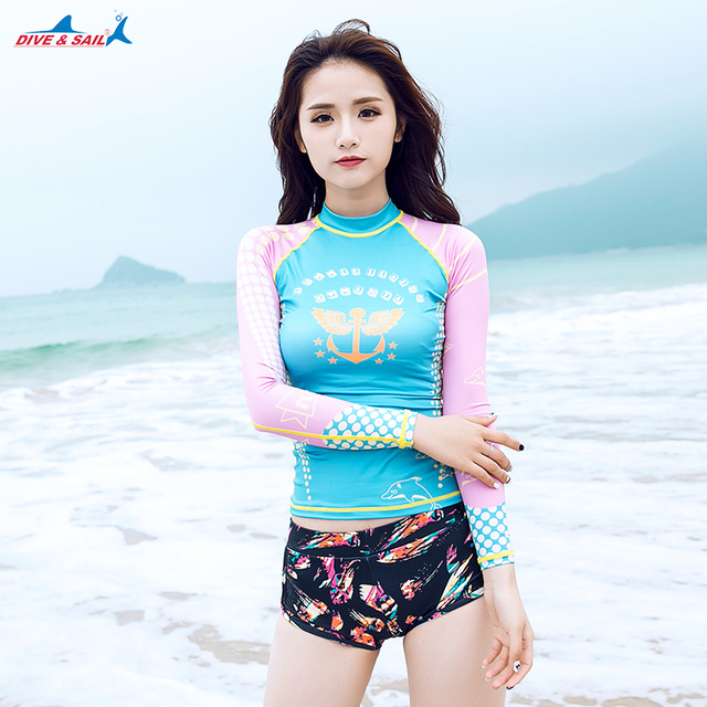 ec3700135a672 Women s UPF 50+ Rashguard Long Sleeve Rash Guard Swim Shirt UV Athletic Tops  Basic Skin