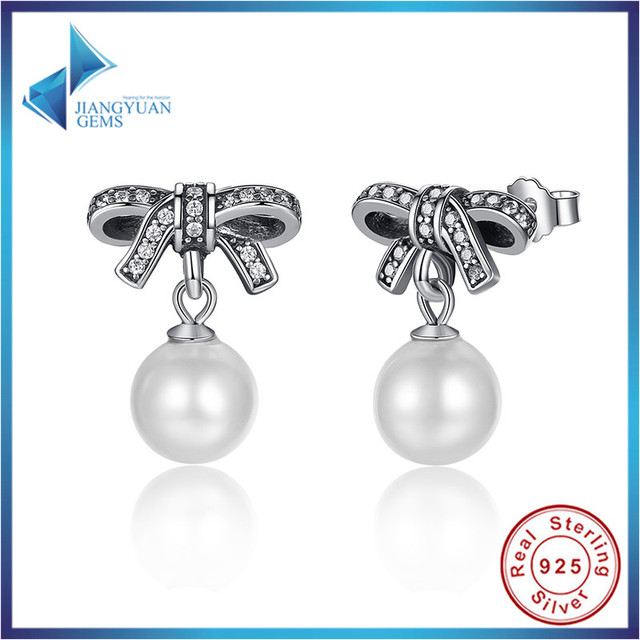 2016 Fashion New  925 Sterling Silver Delicate Sentiments, White Pearl & Clear CZ Knot Women Earrings Wedding