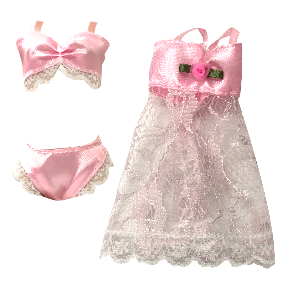Underwear Bra and Panty Set in Hot Pink with Nightie Made to Fit Barbie Doll