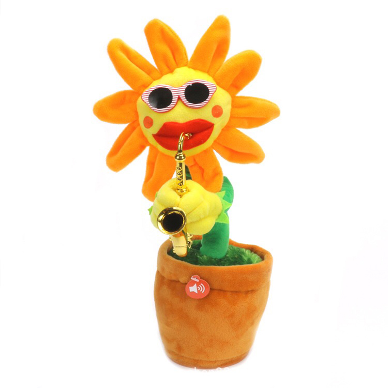 30 cm Singing&Dancing Saxophone Sunflower Toys Soft Stuffed Flower Toys Dolls Teasing Cats Funny Electric Toy for Kids Gifts