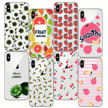 Summer Fruit Smoothie Peach Cherry lemon Banana Lemon Phone Case Fundas For  iPhone 6plus 8 X 6s 5 SE 7 Plus 5S XS MAX XR