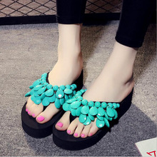 Women Slippers Casual New Bohemia Floral Beach Sandals Wedge Platform Thongs Slippers Flip Flops Flip Flop Female Shoes цены онлайн