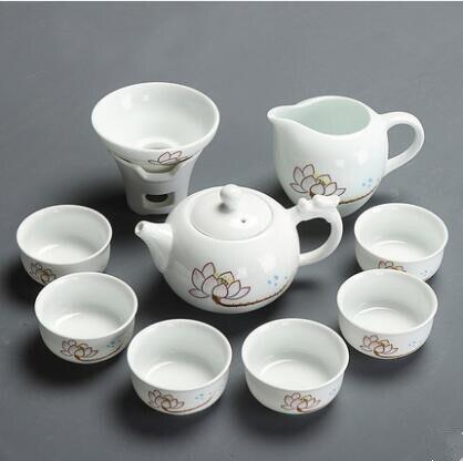 Set de thé ménage céramique porcelaine blanche lotus bol théière théière thé cérémonie