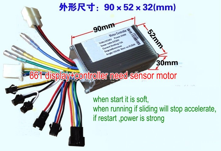 2020 24v36v48v250w350w Controller  U0026 Lcd Display 861 Manual Control Panel Dashboard For Electric