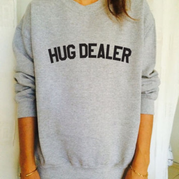 HUG DEALER Funny Letter Simple Cool Oversize Jumper Sweatshirt Graphic Women Fashion Street Style Casual Warm Tops