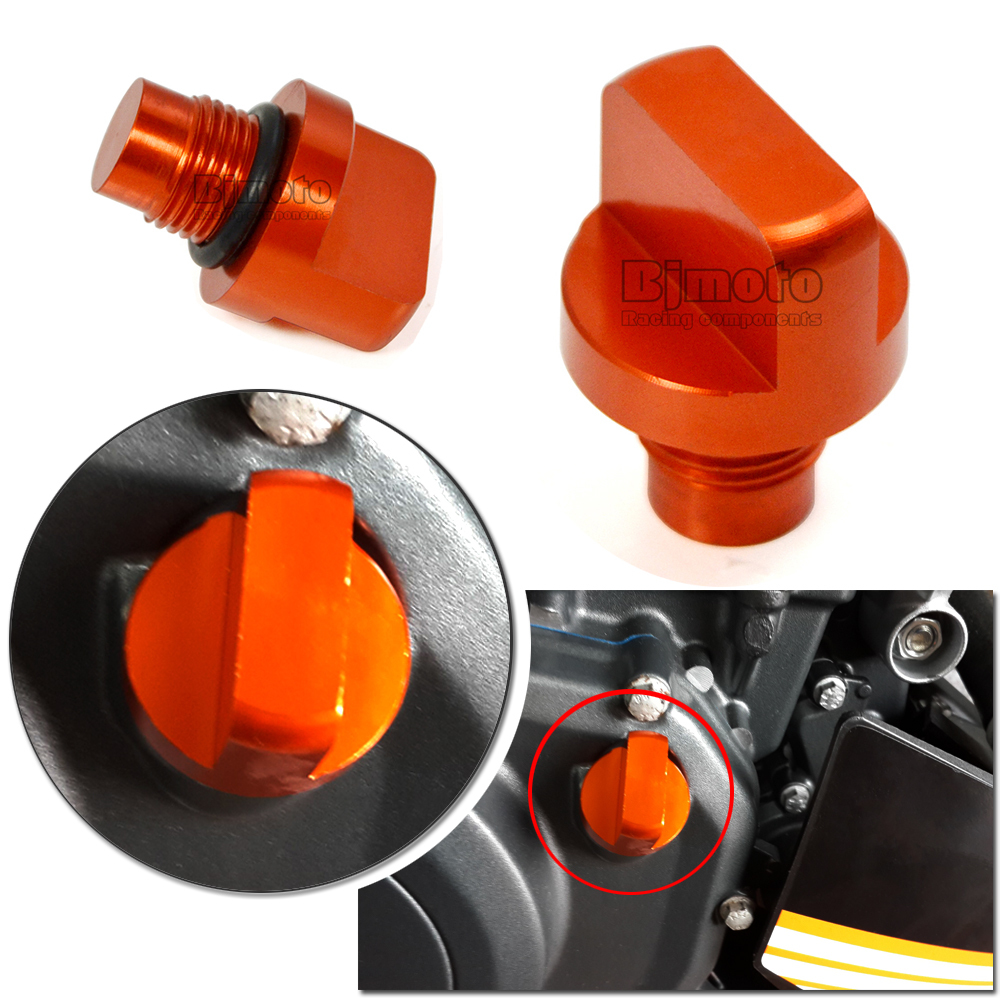 BJMOTO Motorcycle Accessories CNC Orange Aluminum Engine Magnetic Oil Drain Plug For KTM DUKE 125 200 390 RC 125 200 390 for ktm 390 duke motorcycle leather pillon rear passenger seat orange color