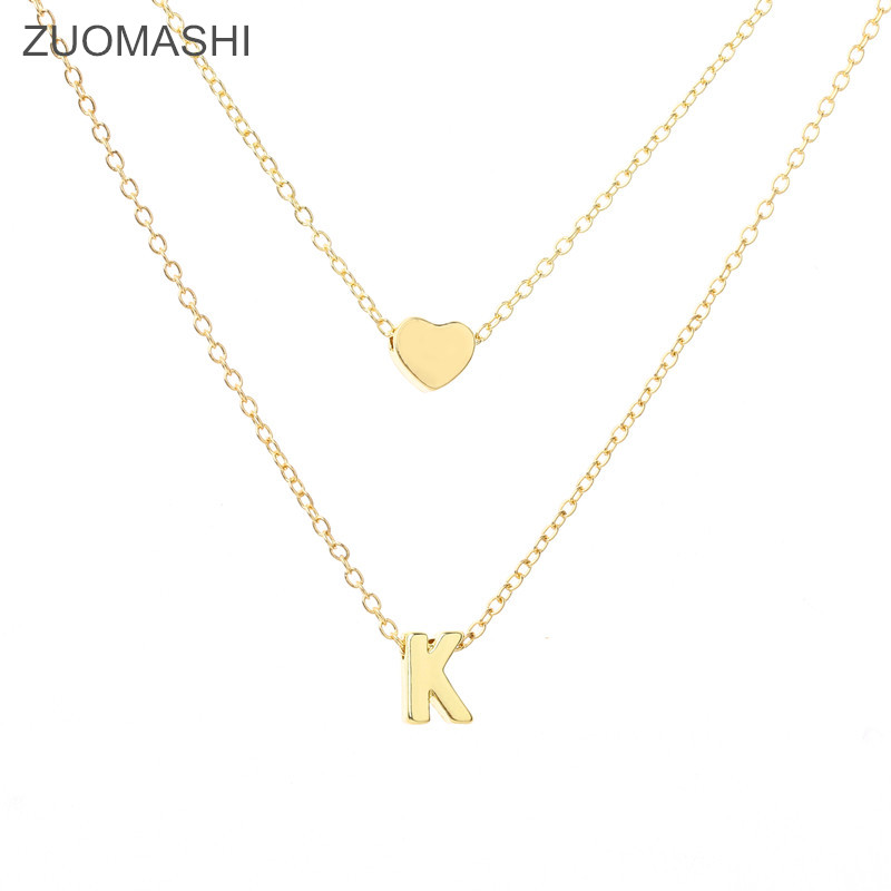 New Fashion Tiny Dainty Heart Initial Double Layer Initial Letter Necklace Personalized Necklace Name Jewelry Friend Gift Collar