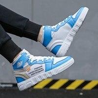 New Men Shoes 2018 Black Fashion Brand Design Men Casual Shoes High Top Men Boots Trainers Male Shoes Adult Sneakers Blue Basket