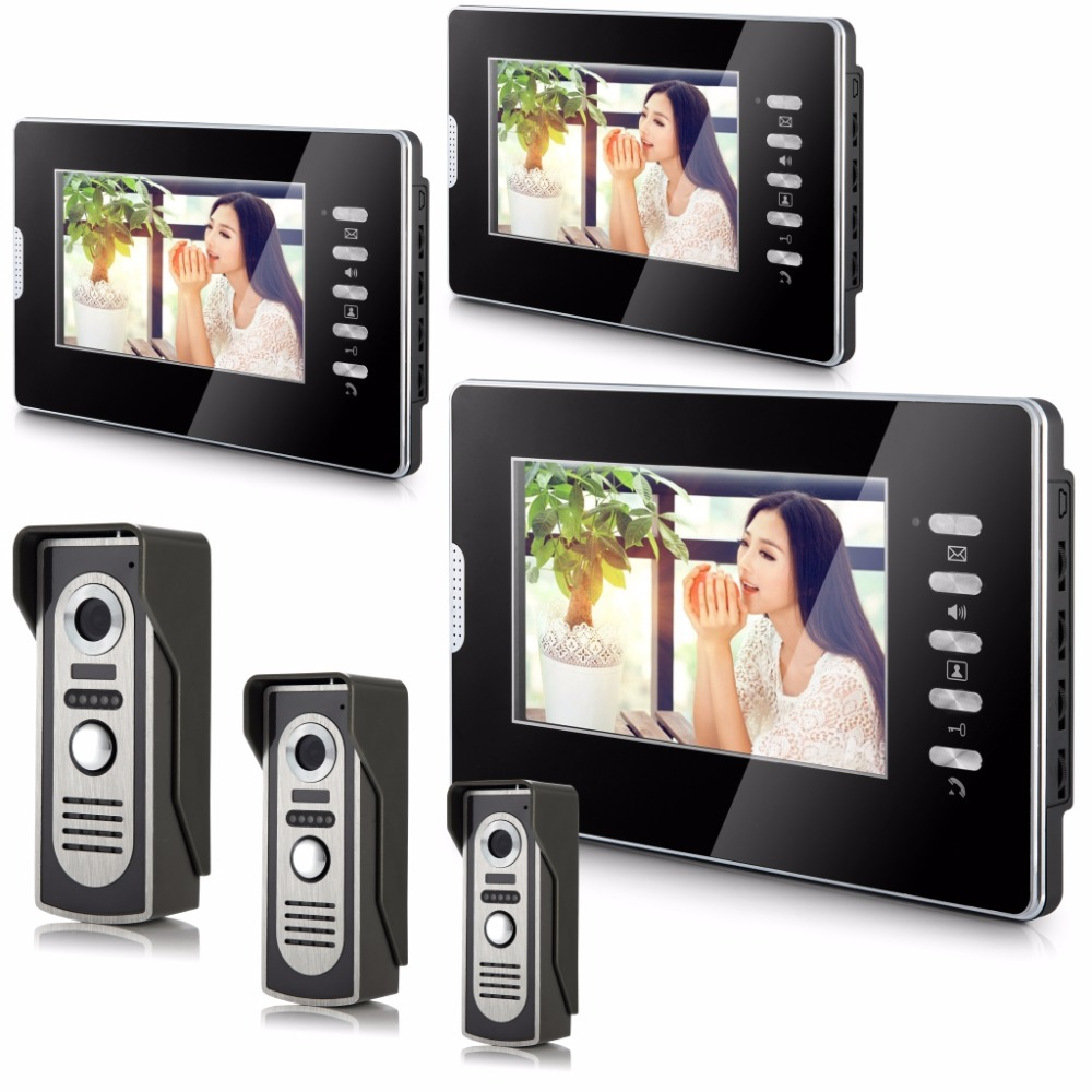 YobangSecurity 7 Inch Color LCD Monitor Video Door Phone Doorbell Intercom System Night Vision Speakerphone 3 Camera 3 Monitor