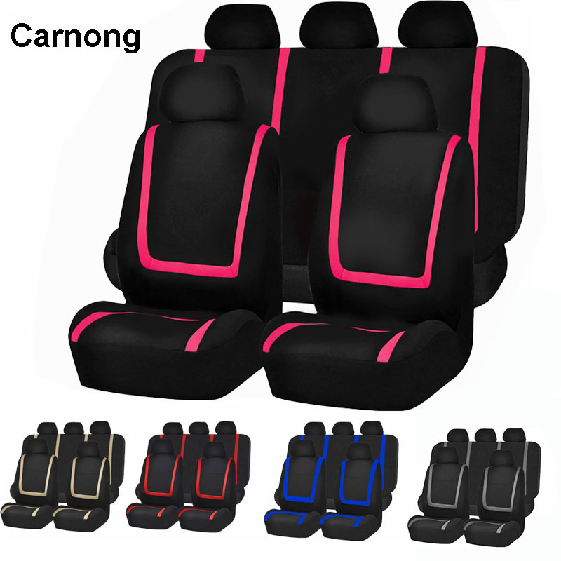 Carnong Car Seat Cover Universal Front Rear Full Set Pink Cute