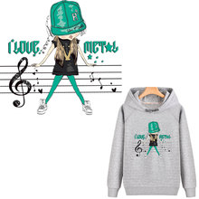cool music girl patches iron on transfer for clothing stickers stripe heat transfert thermocollants