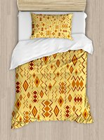 Tribal Duvet Cover Set African Art with Ethnic Quirky Forms Abstract Cultural Icons Primitive Design 2 Piece Bedding Set