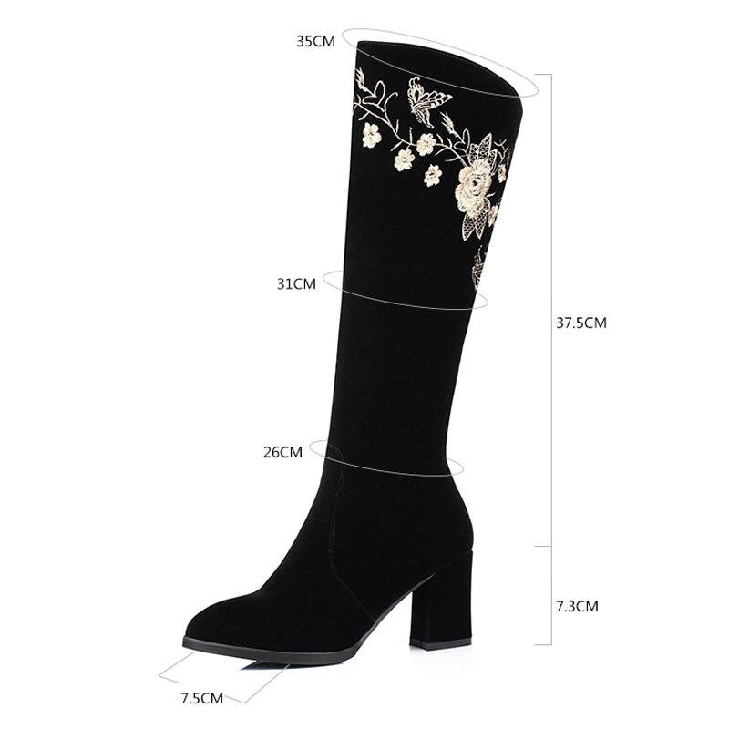 Black Faux Automne Cuissardes Zip Rétro Bottes Suede Haute Talons Femmes Fanyuan Chaussures Fleur Sexy Genou QBWrxCdoe