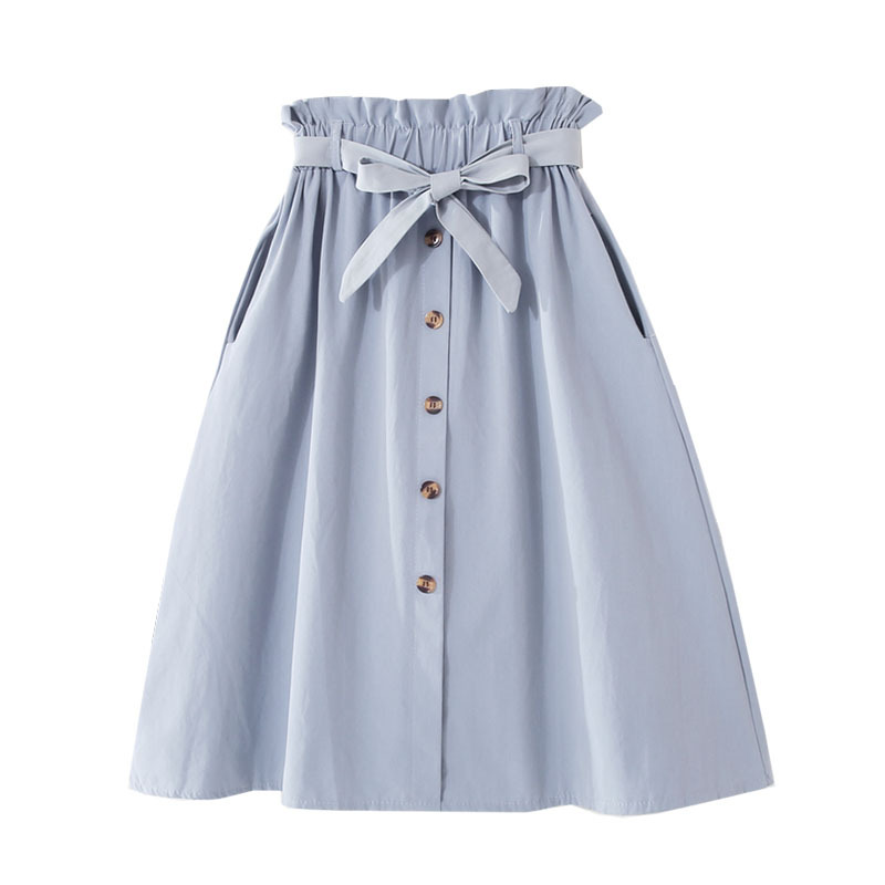 Single-breasted High Waist Cotton Midi Women Skirts With Pocket 2020 Summer Long White Skirt Solid Yellow Skirt Women Jupe Femme