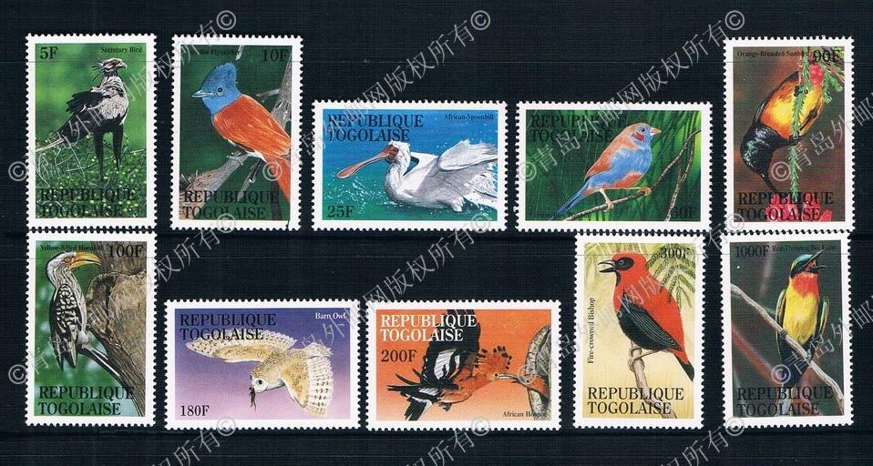 EA1999 Togo 1997 birds 10 new 0727 ordinary stamps стоимость