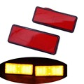 Motorcycle LED Rectangle Reflector Tail Rear Stop Brake Marker Light Turn Signal Red Lens For Motorbike Truck Trailers ATV SUV