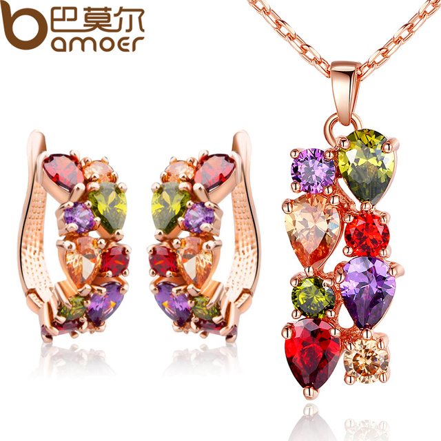 BAMOER  Real Gold Plated Gold Unique Jewelry Sets with Multicolor AAA Zircon Stone Women Wedding & Engagement Jewelry