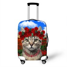 Kawaii Kitten Cat Print Travel Luggage Protective Covers Elastic Dust Rain Women Suitcase Protections Cover For 18 to 30 Inch(China)
