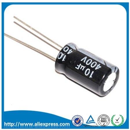 20 pces 10 uf 400 v 400 v 10 uf capacitor eletrolítico de alumínio 400 v/10 uf tamanho 10*16mm capacitor eletrolítico