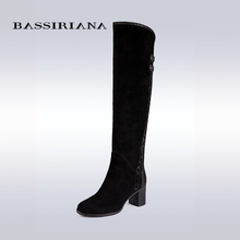 BASSIRIANA knee-high boots Suede women winter shoes for woman comfortable high heels shoe 35-40 Free shipping
