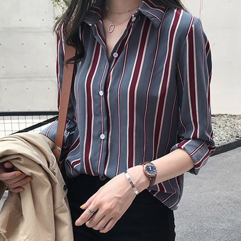NEW Spring Women Tops Striped   Blouse     Shirt   3XL Plus Size Long Sleeve Women   Shirts   Women   Blouse   Womens Tops and   Blouses   Femme