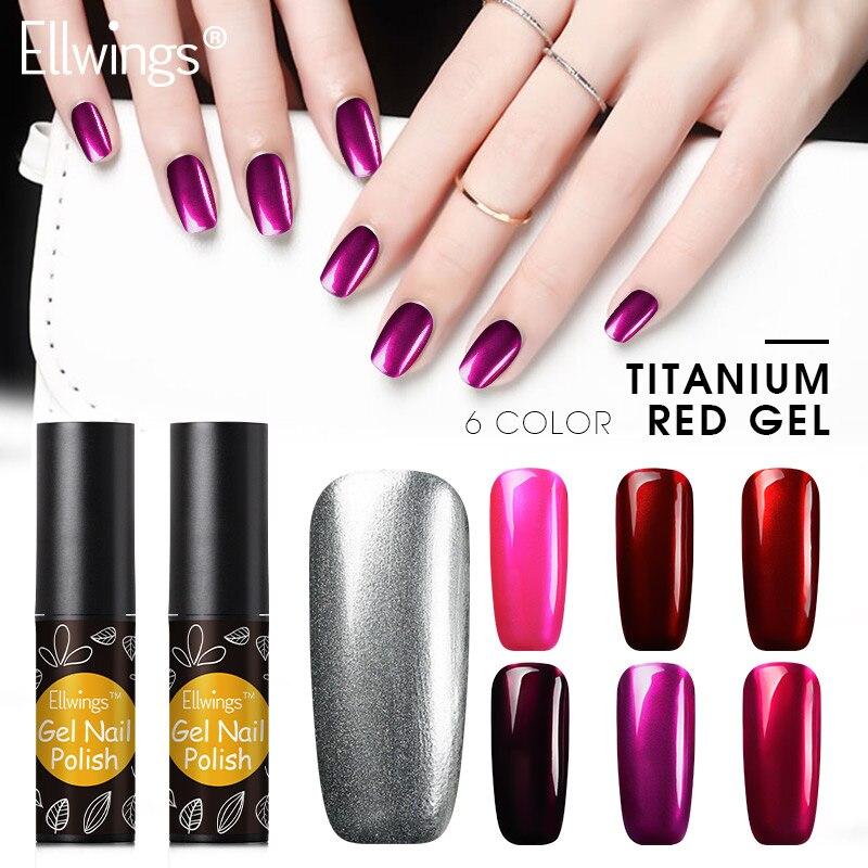 Ellwings Titanium Red Gel Hybrid Color UV Gel Acrylic Nail Glue Soak ...
