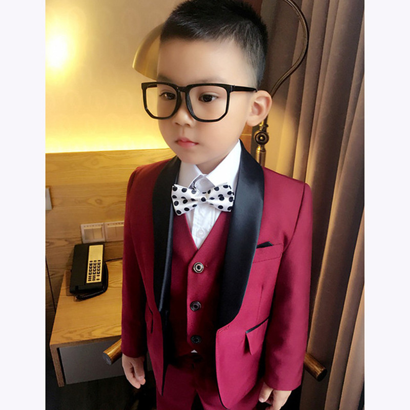 2018Custom Made Boy Tuxedos Shawl Lapel Children prom Suit Dark Red Kid wedding suits fo ...