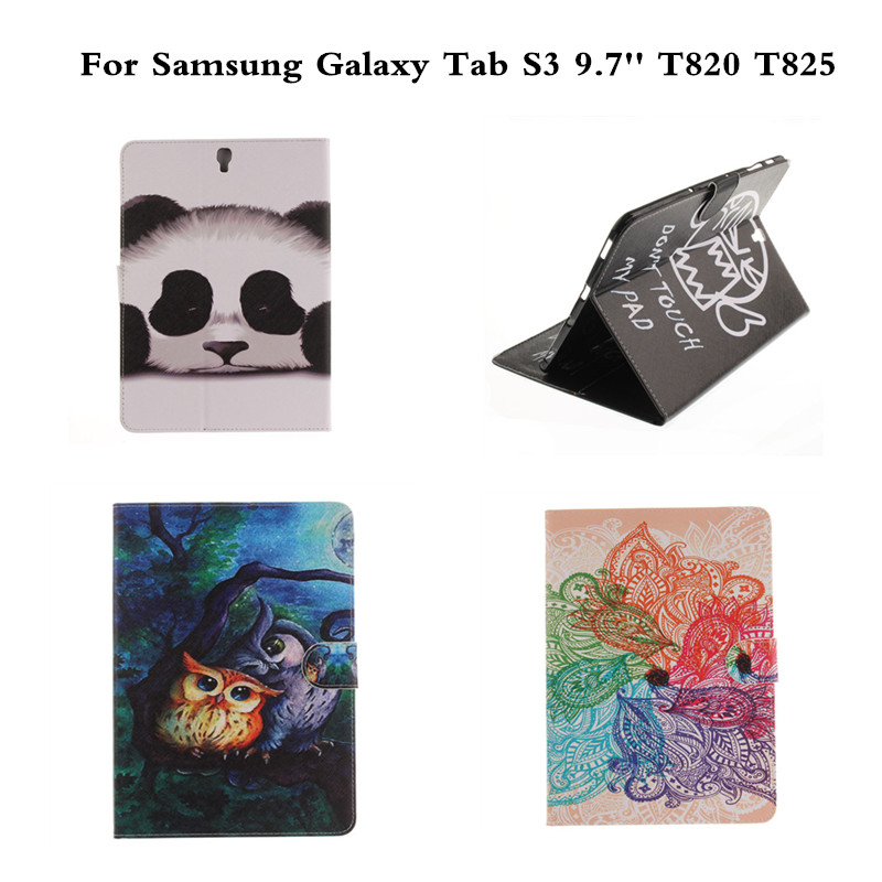 Pretty OWI Painting Tablet Case For Samsung Galaxy Tab S3 9.7 T820 Luxury PU Leather Cover For Galaxy Tab S3 9.7 inch sm T825 планшет samsung galaxy tab s3 9 7 sm t820 wi fi 32gb черный