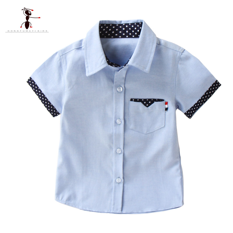 Kung Fu Ant 2019 New Summer Short Sleeve Solid color White Boy Shirt Students Clothing Fashion Oxford Textile Cotton Kids TopKung Fu Ant 2019 New Summer Short Sleeve Solid color White Boy Shirt Students Clothing Fashion Oxford Textile Cotton Kids Top