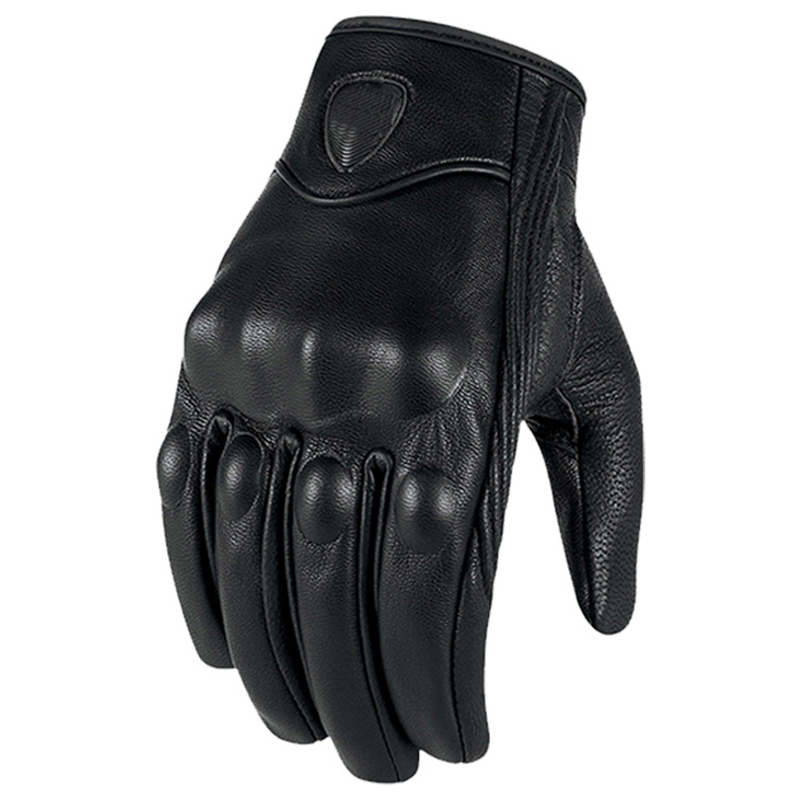 Leather Gloves Full Finger Mens Motorcycle Driving Breathable Touch Screen