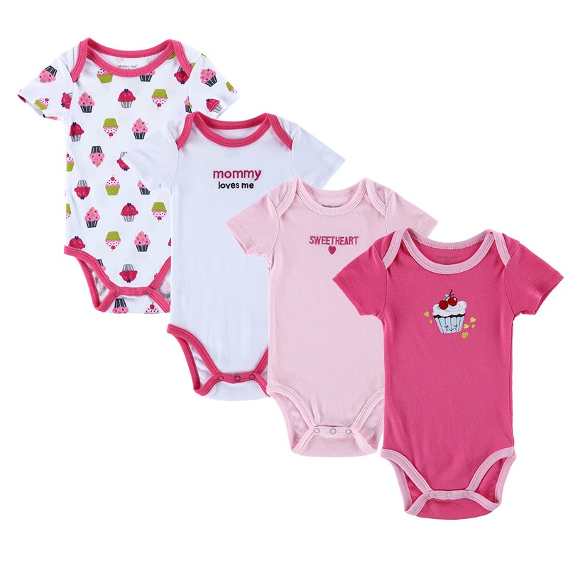 4PCS Baby Brand Boy Girl Bodysuits Short Sleeve Striped Style Newborn Clothes Bodysuits & One-Pieces Baby Clothig Color Blue (5)