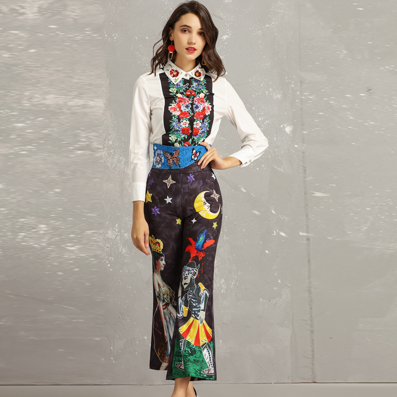 High quality Designer Shirts Two Pieces Sets Women flower applique blouses Pattern Print Vintage High waisted