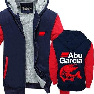 Image 4 - new arrived ABU GARCIA shubuzhi men winter padded zipper sweatshirt fashion casual hoodies thick fleece jacket coat hoody
