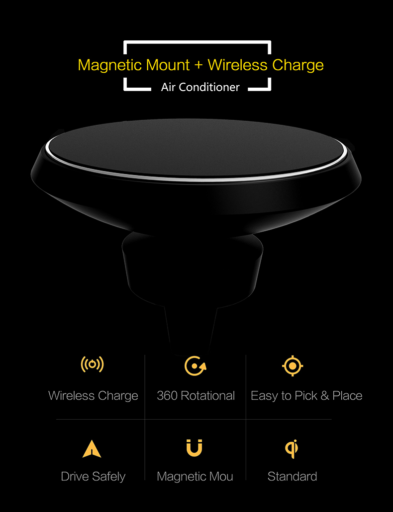 360 Degree Rotation QI Standard Phone Car Magnetic Wireless Charger Air Vent Holder For Samsung Galaxy S8 S8 Plus S7 Edge S7 (2)