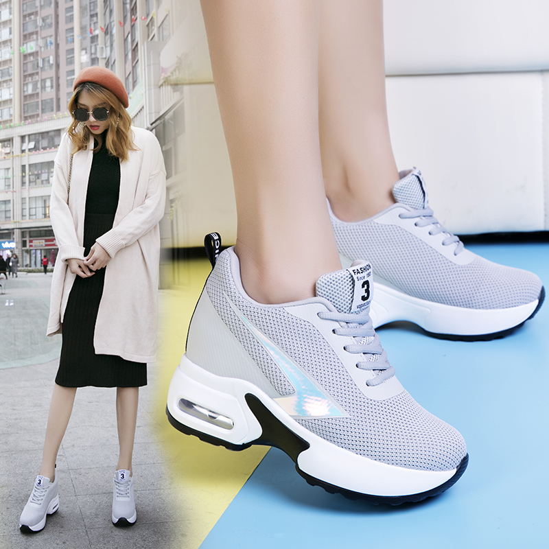 Image 4 - Fashion Air Mesh Height Increased Casual Shoes Woman Breathable Lace Up Platform Sneakers Hide Heels Women Wedge Sneakers XZ127-in Women's Vulcanize Shoes from Shoes