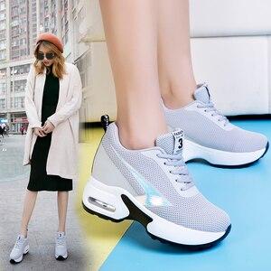 Image 4 - Mode Air Mesh hauteur chaussures décontractées surélevées femme respirant à lacets plate forme baskets cacher talons femmes tennis à semelles compensées XZ127