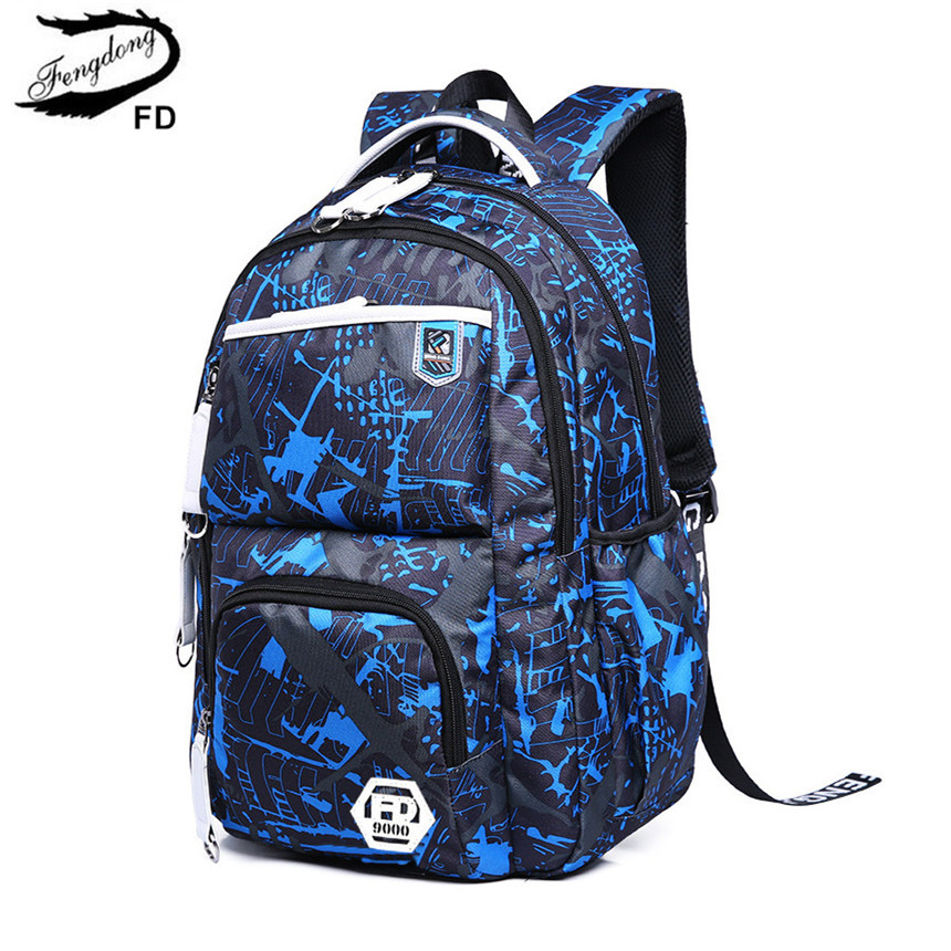 FengDong new 2018 school bags for teenagers boys multifunctional backpack men travel bags kids bag for laptop computer bag 15.6 ...