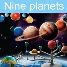 OCDAY DIY Nove Planetas Sol Lua Ciência Jogo de Puzzle Brinquedos de Montagem de Construção de Brinquedos Educativos Para Crianças Presente Novo Venda