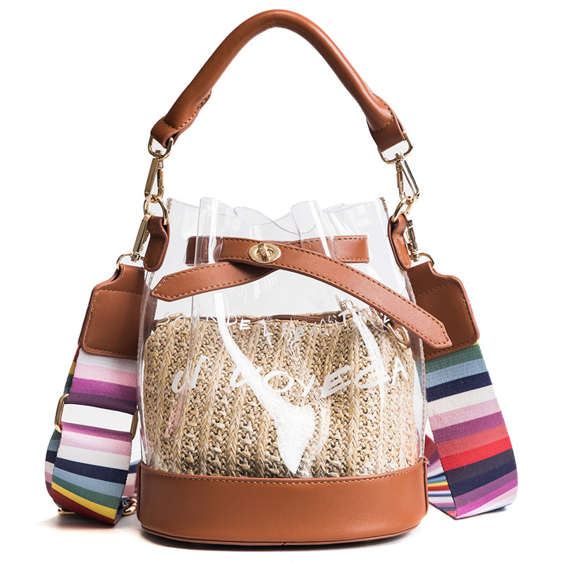 2018 New Summer Tote Women Colorful Strap Shoulder Messenger Bag Plastic Handbag Transparent Ladies Beach Bucket Bag