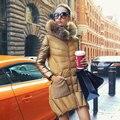 Cuello de piel de Mapache Medio-largo Abajo Chaqueta 2017 mujeres de la Promoción de Oro de Lujo del Invierno Outwear Mujeres Delgadas Parka escudo Y414