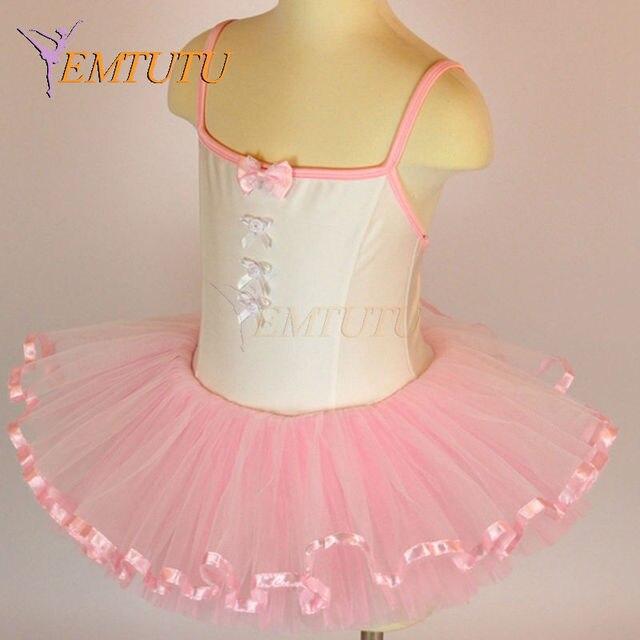 8cc36062897aa Детский балетный костюм блестящей лайкры для девочек розовый маленькая  балетная пачка с Купальник Балетная пачка ленты