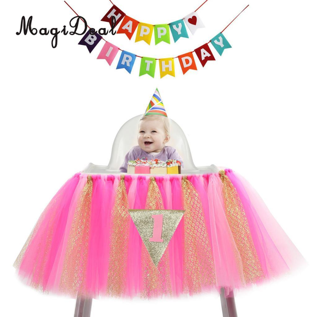 Baby Kids First Pennant Happy Birthday Banner Garland Hanging Decoration Tulle Tutu High Chair Skirt Cover Party Accessories