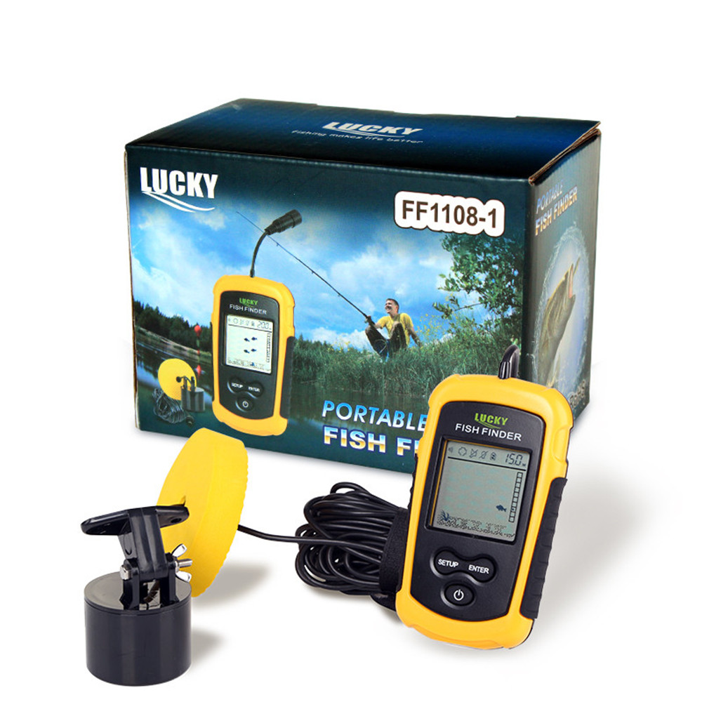 цена на Lucky FF1108-1 Portable Sonar Alarm Fish Finder Echo Sounder Transducer Sensor Depth Finder with Russian Manual #c2
