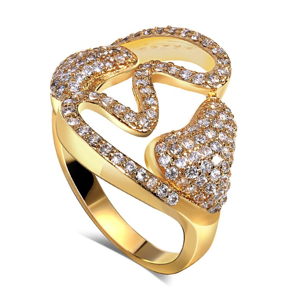 Cubic Zirconia Unique Design 18k Gold Filled Women Lady Hoop Earrings Paved AAA