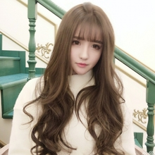 Long wavy central part girl's synthetic hair wigs,sexy lolita daily full hair wigs peruca,brown/black anime cosplay hair wig