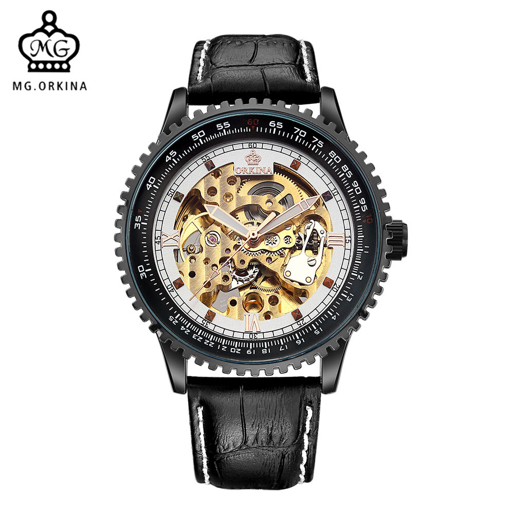 MG. ORKINA Casual Design Black Leather Strap Hollow Engraved Golden Skeleton Mens Watches Montre Homme Big Case RelogiosMG. ORKINA Casual Design Black Leather Strap Hollow Engraved Golden Skeleton Mens Watches Montre Homme Big Case Relogios