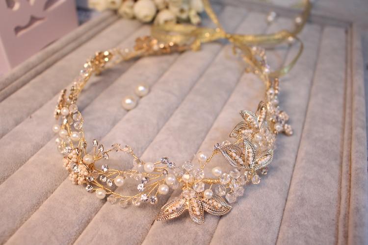 High-end barok blomsterhovedkranser Brude perle sølv hårbånd - Beklædningstilbehør - Foto 5