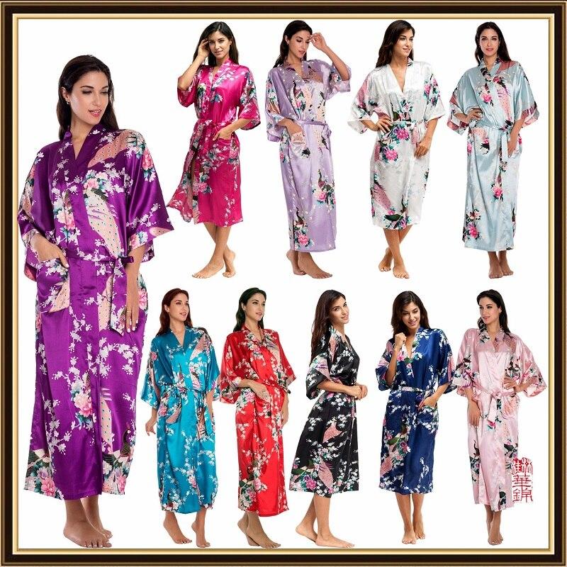 women's sleepwear print home dress High imitation silk pajamas satin Nightgown european  pajamas maternity sleep gown Lounge