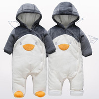 Warm Hooded Baby Clothes Full Sleeve Baby Boy Romper Cotton Newborn Baby Winter Jumpsuit
