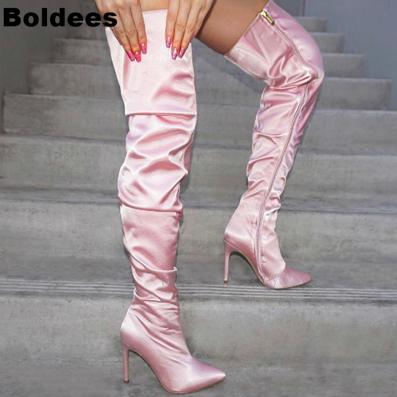 Unique Designer Sweet Pink Color Satin Leater Women Over The Knee High Heel Boots Ladies Pointed Toe Thigh High Gladiator BootsUnique Designer Sweet Pink Color Satin Leater Women Over The Knee High Heel Boots Ladies Pointed Toe Thigh High Gladiator Boots